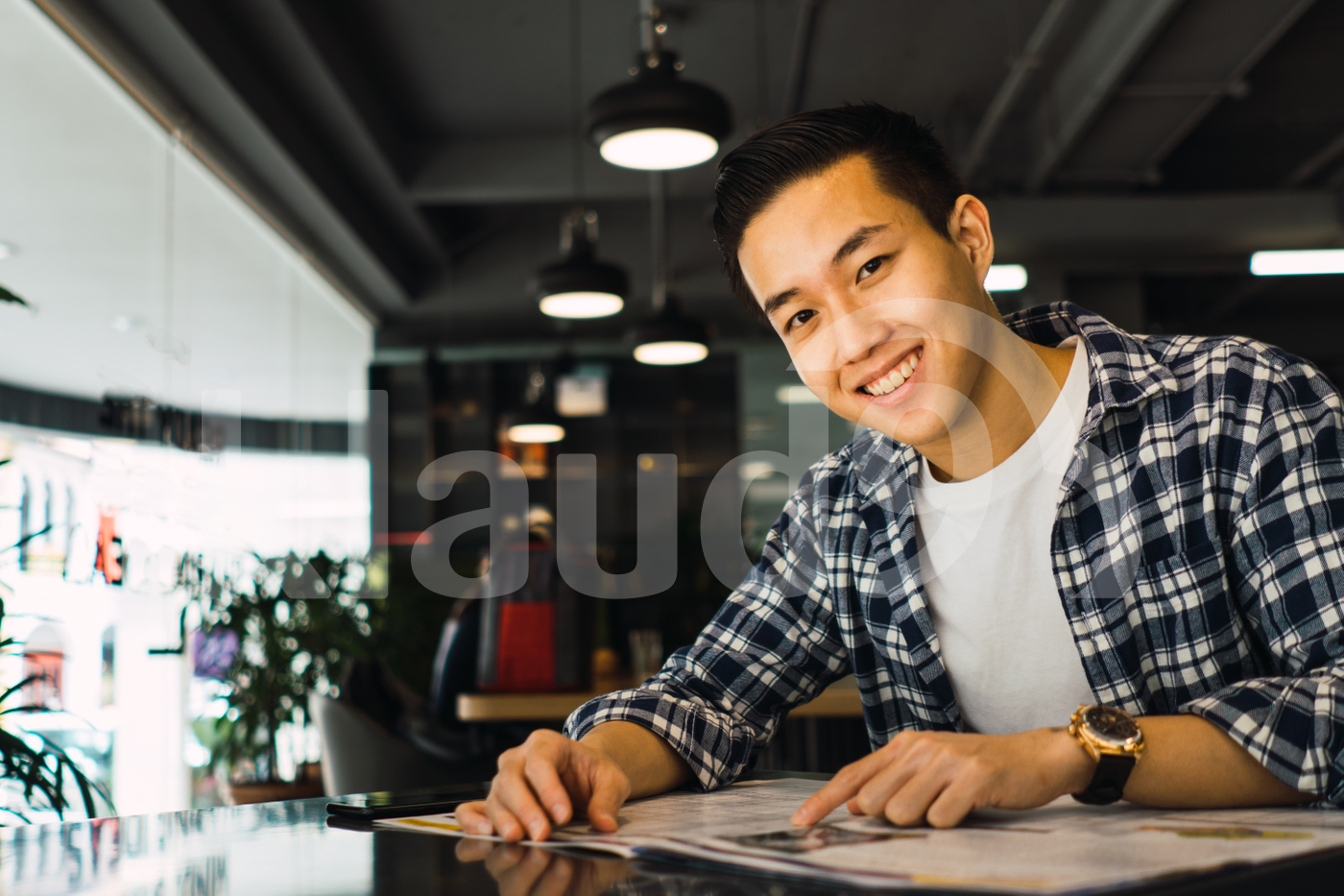 Asian man sitting in the office
