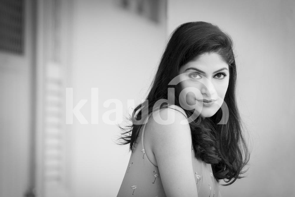 Black and white image of beautiful Indian woman