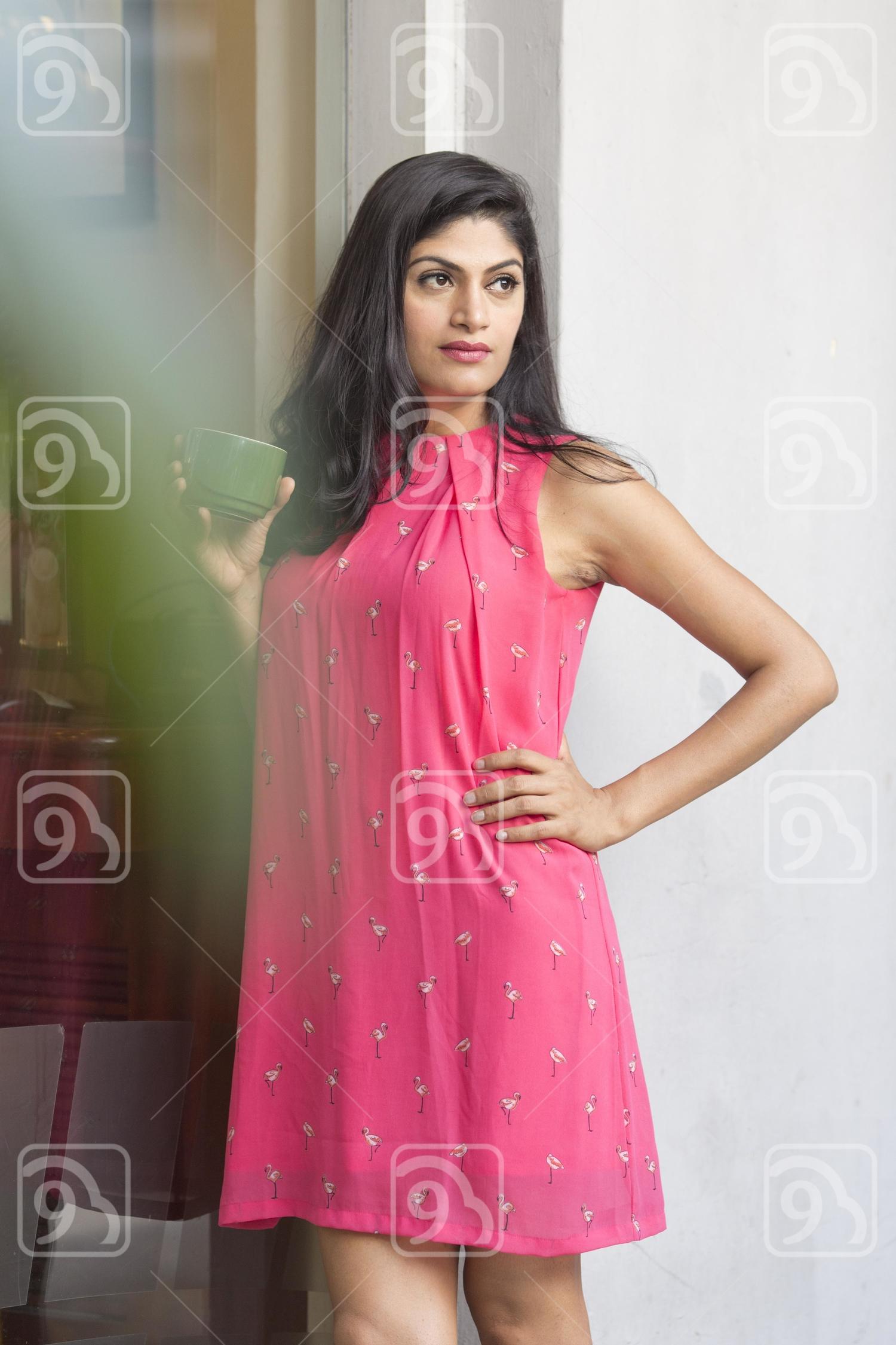 Posing beautiful woman