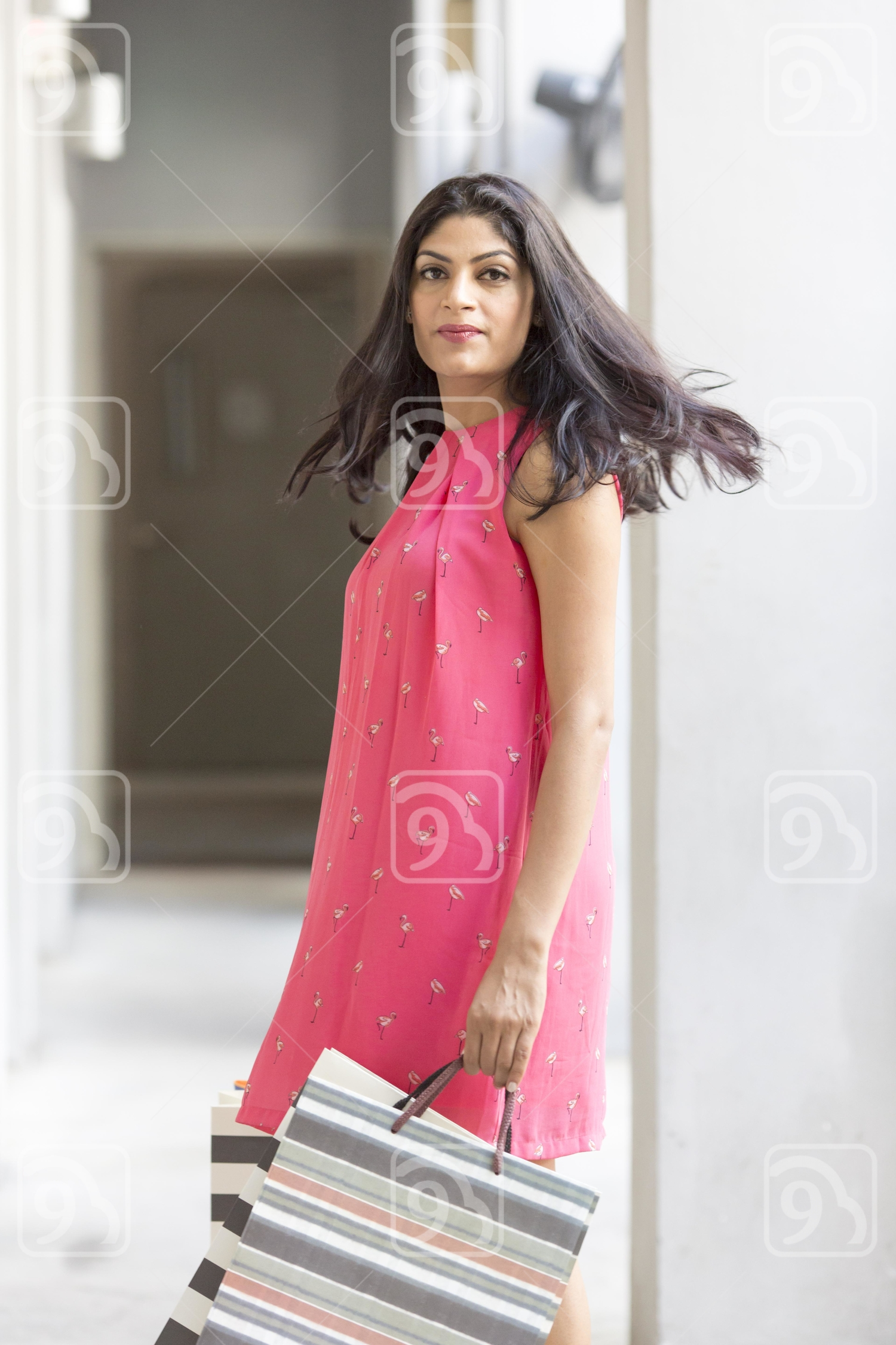 Pretty woman on shopping spree