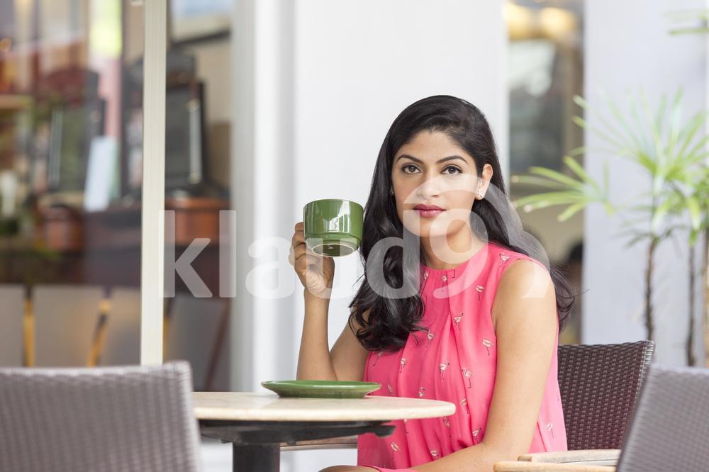 Enjoying life having a coffee