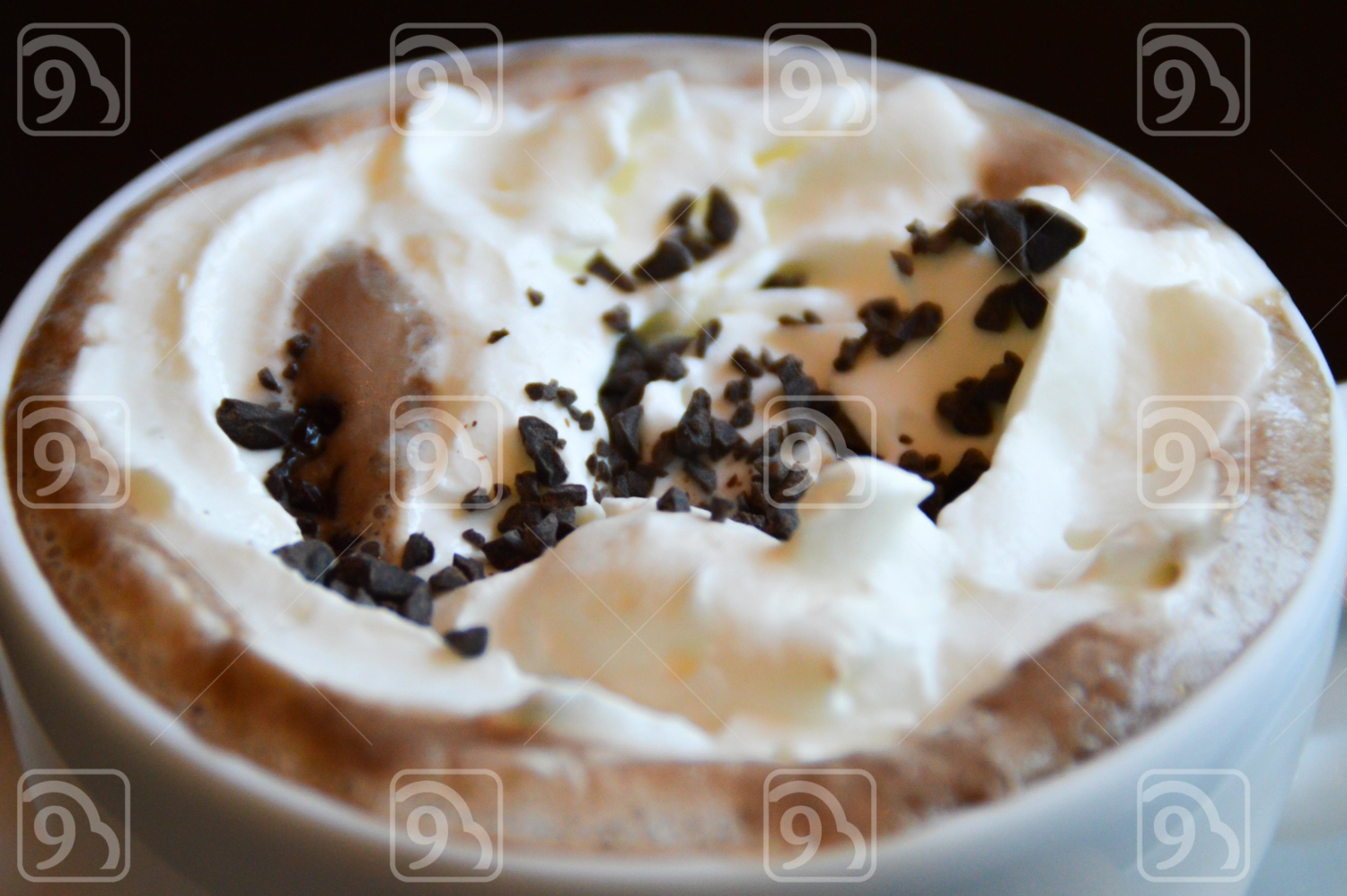 Hot Mocha with Choco Chips on the Whipped Cream