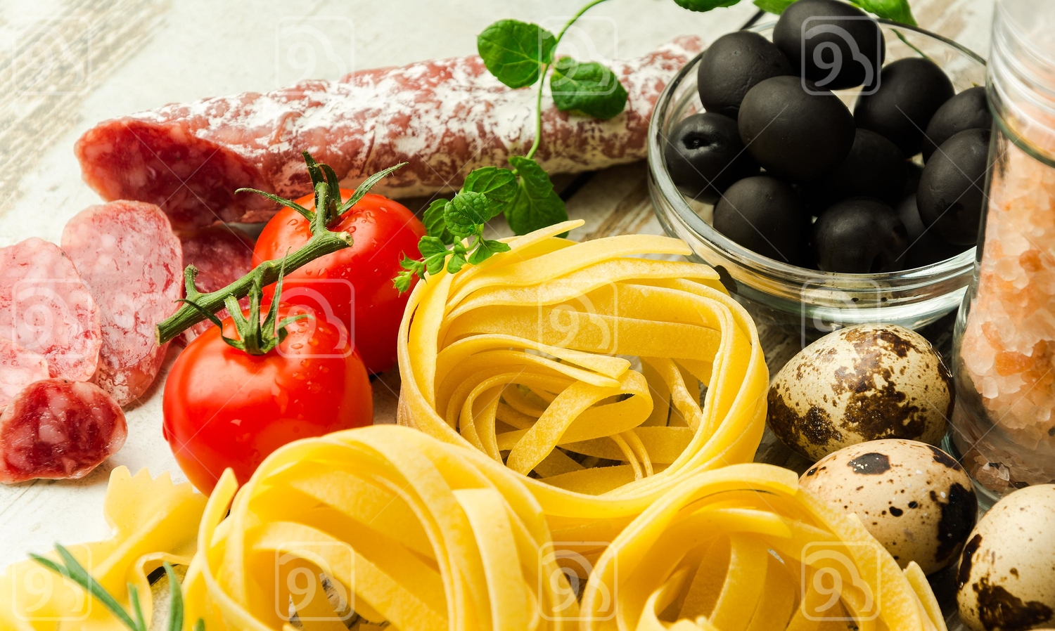 Italian food on a wooden table