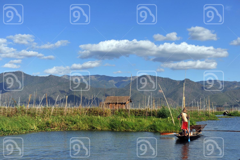 Farmer on boat