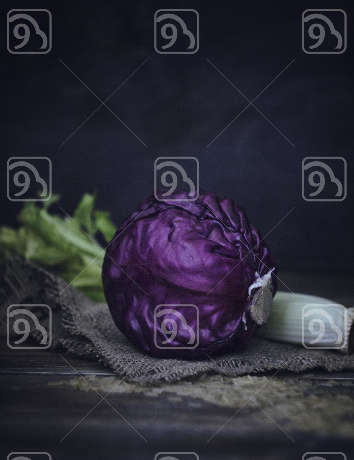 Cabbage on an old table