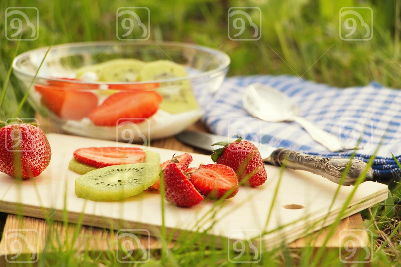 fruit salad prepared on nature