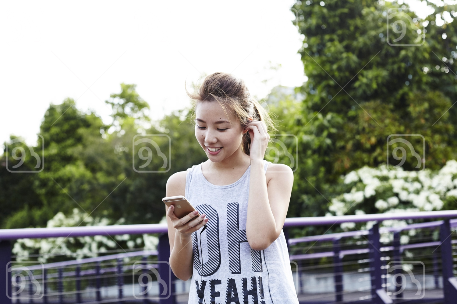 Beautiful lady on her handphone