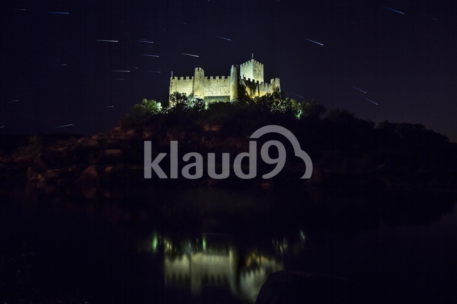 castle by night with stars