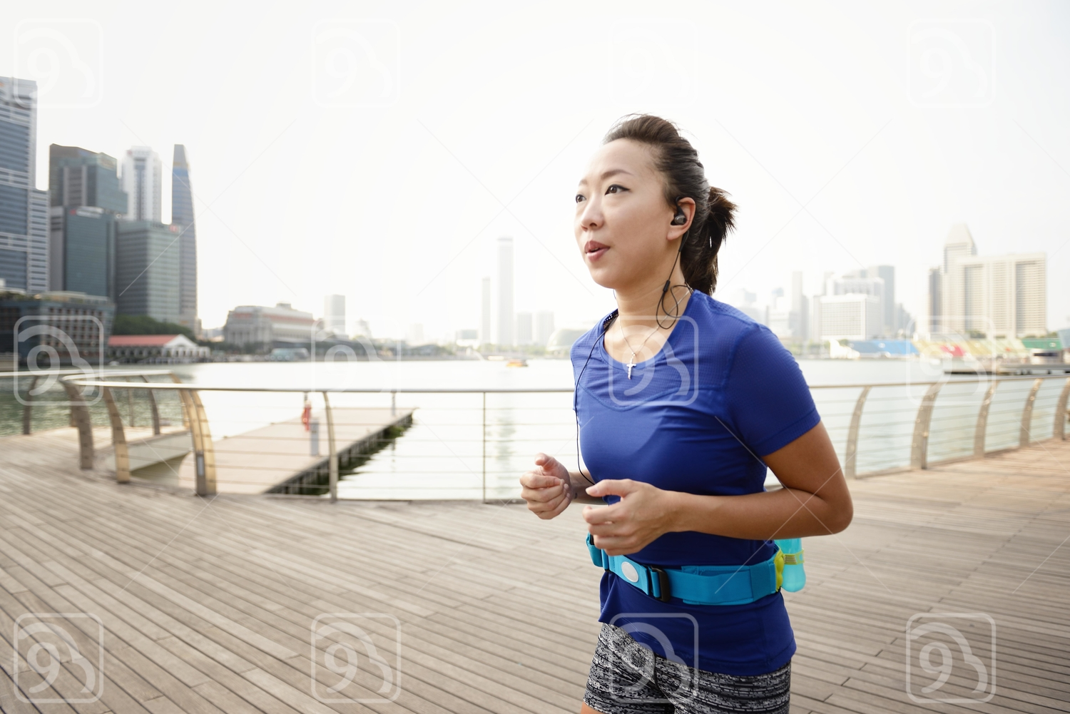 Woman Running at Marina Bay Sands