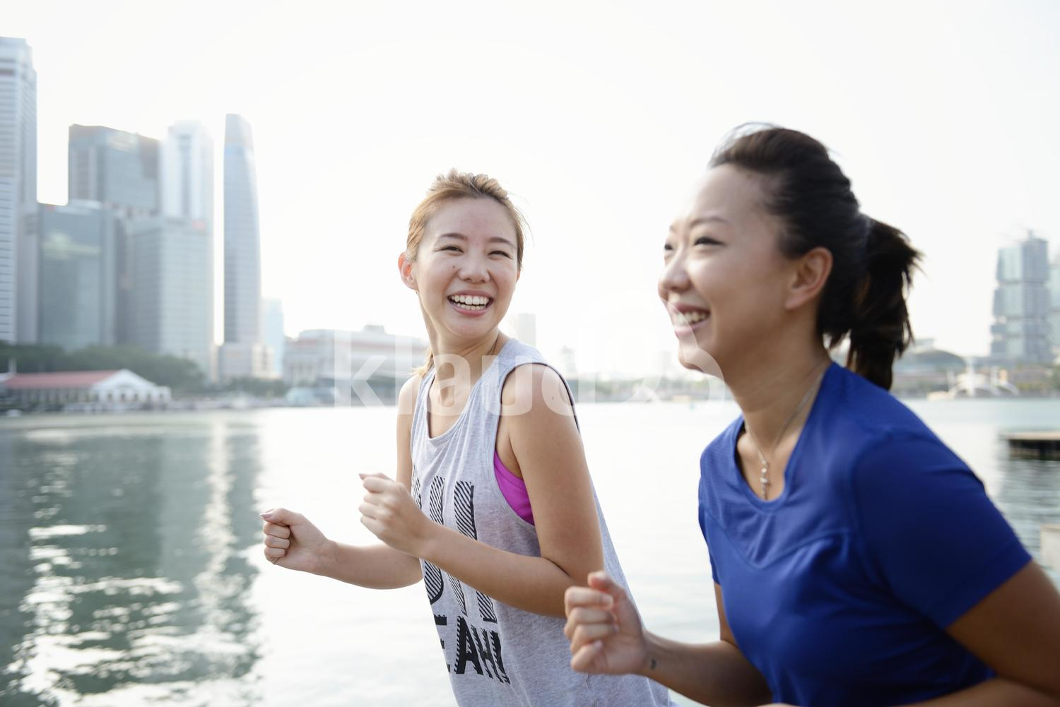 Happy Women out for a run at Marina Bay