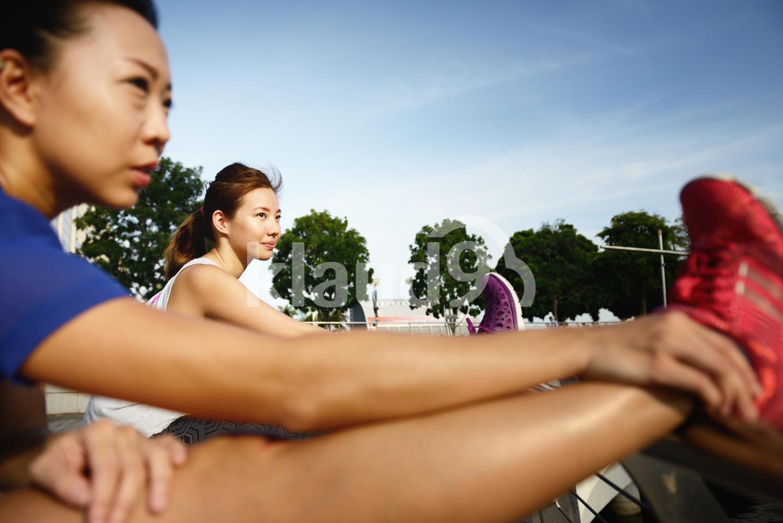 Ladies warming up at Marina Bay