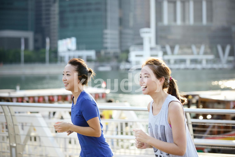 Beautiful Women Running at Sunset