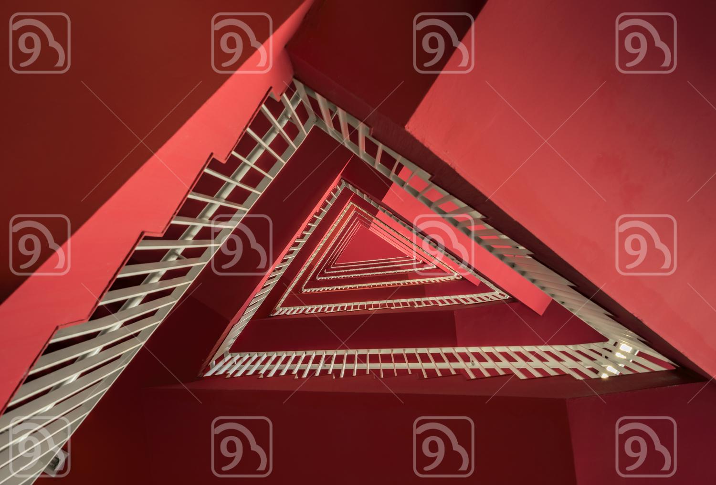 Red Triangular Stairs
