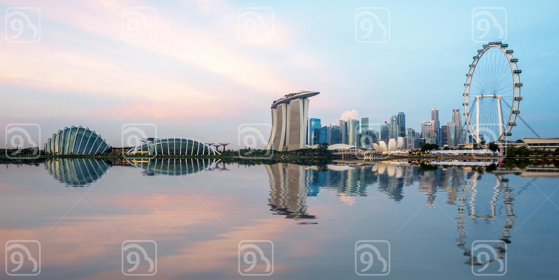 The skyline of Singapore city