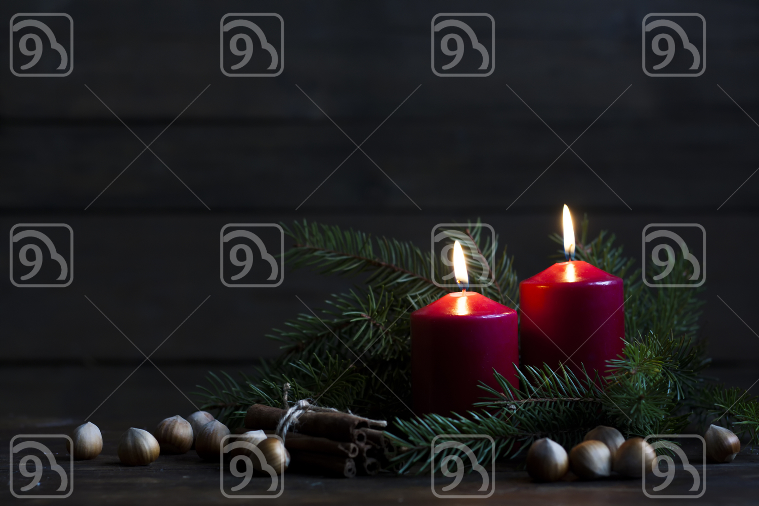 Christmas candles and lights