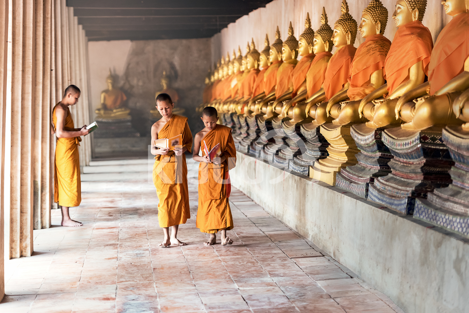 Thai Novices at temple in Ayutthaya Historical Park