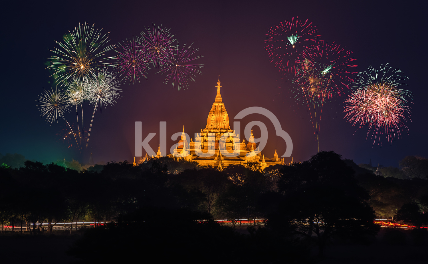 Ancient Temples in Bagan at night with fireworks
