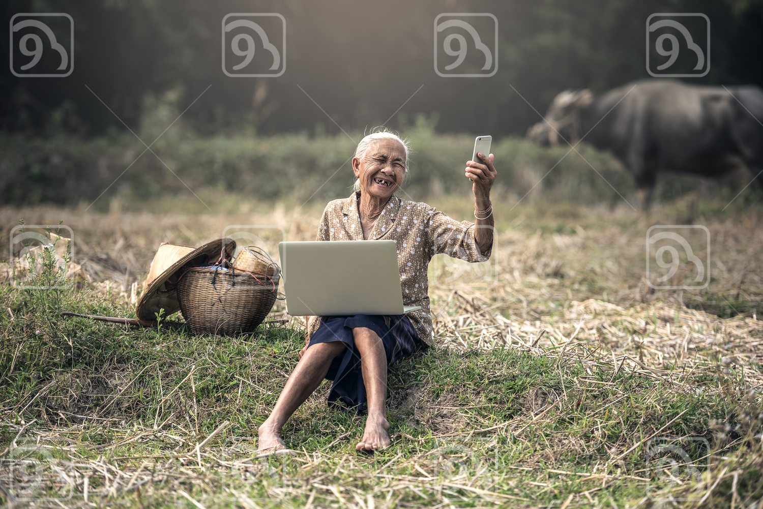 Rural grandmother taking a selfie in the countryside