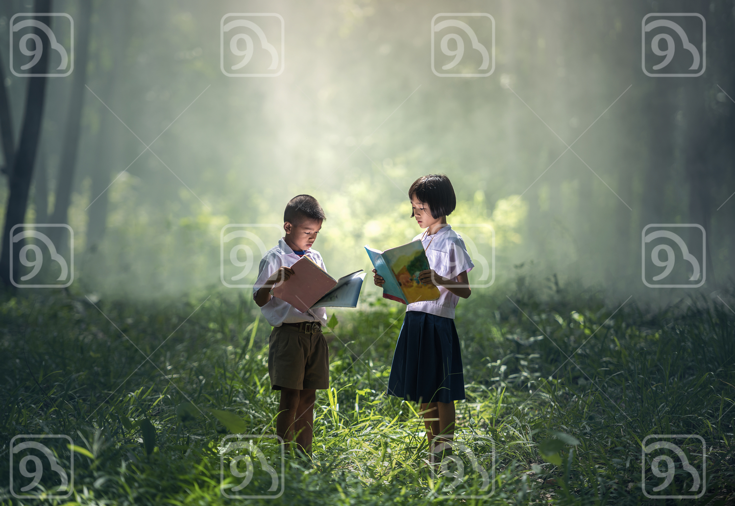 Asian students reading books