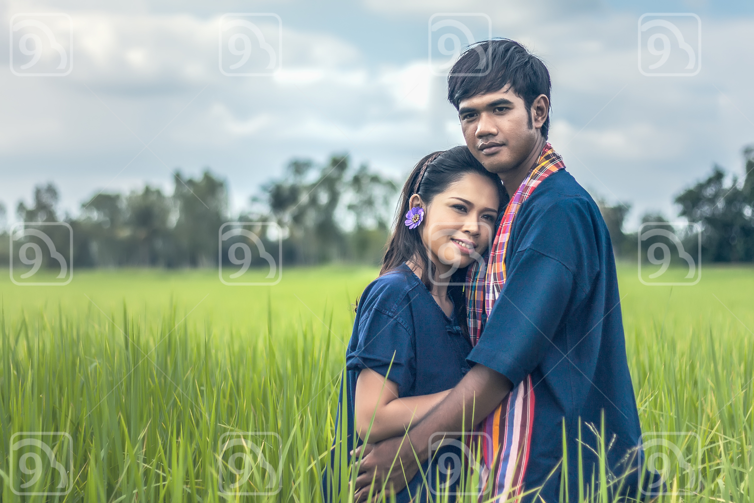 Couple farmer in farmer suit