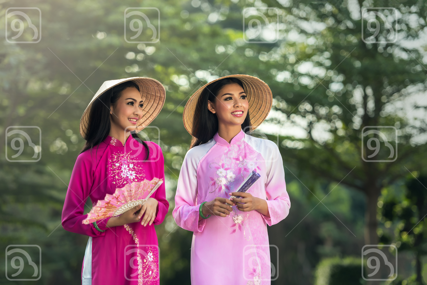 Portrait of Vietnamese girl traditional dress