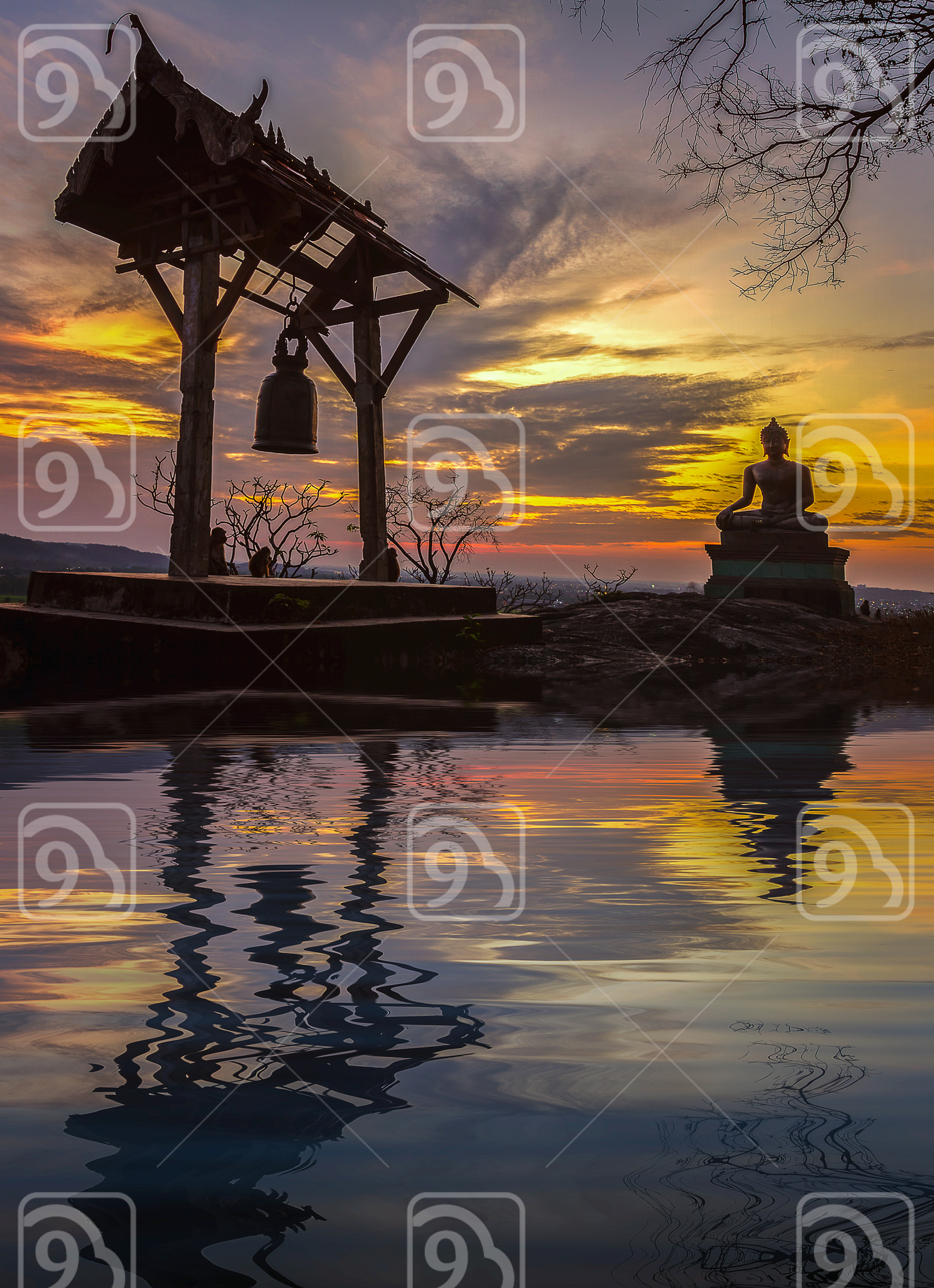 Buddha statue in sunset