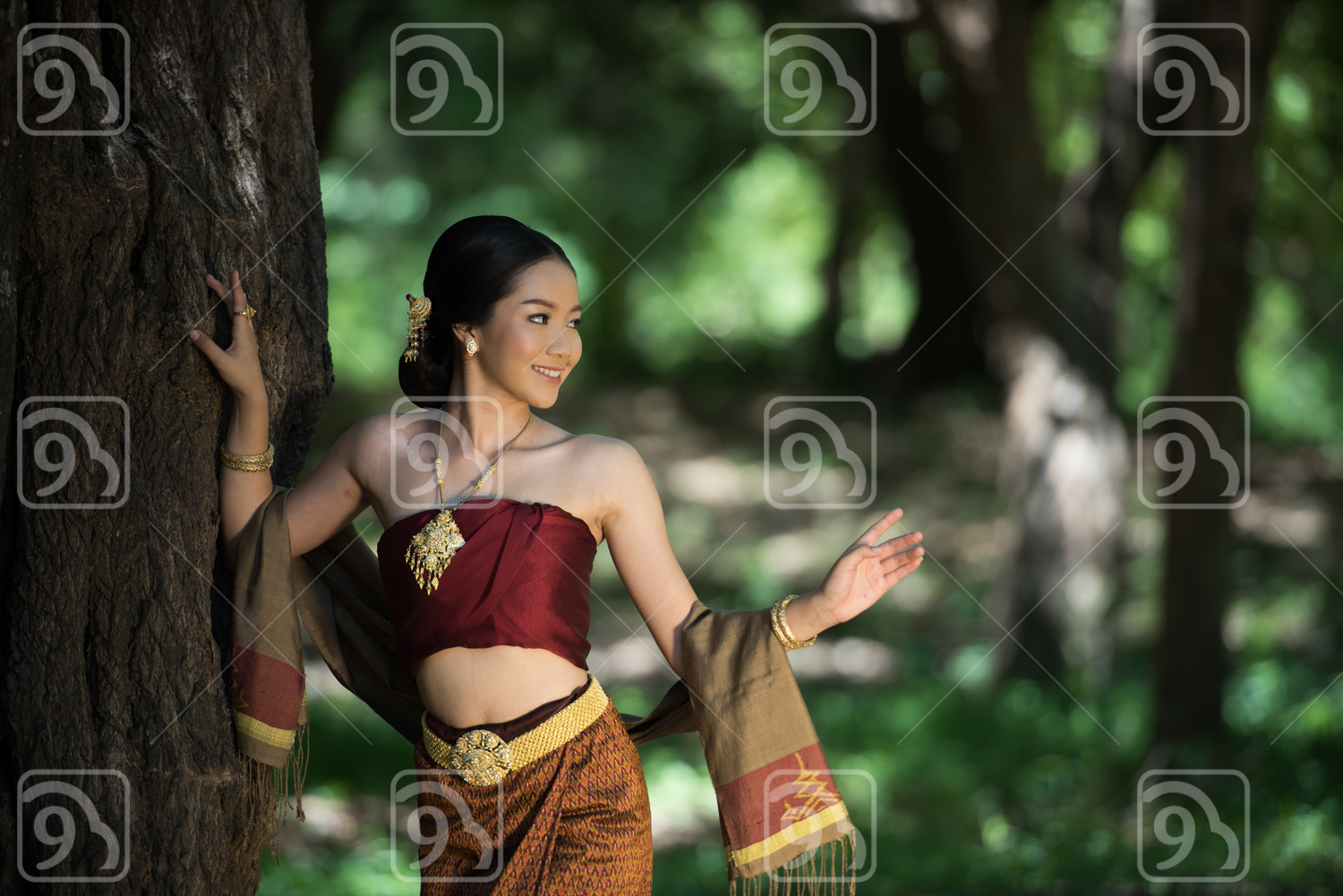 Thai women with traditional Thai suit