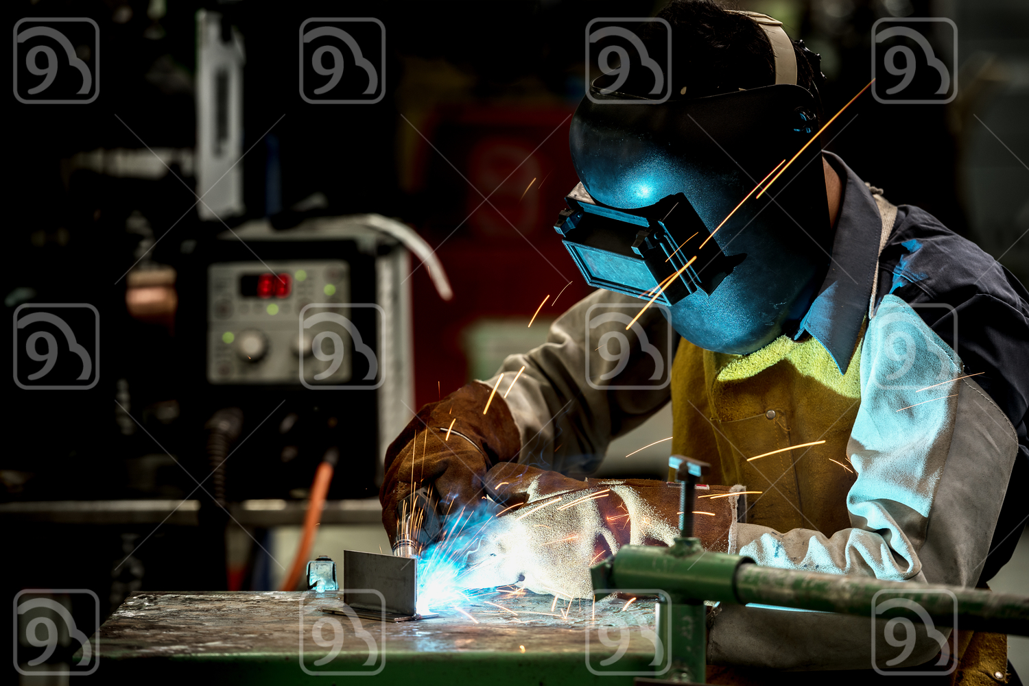 Industrial welding worker at the factory