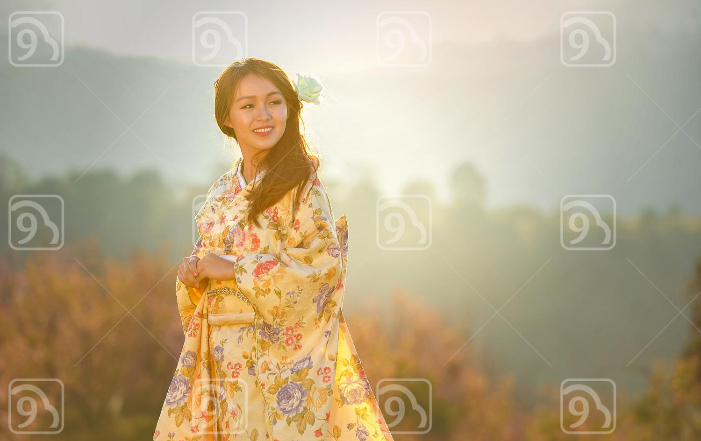 Asian woman wearing traditional Japanese Kimono