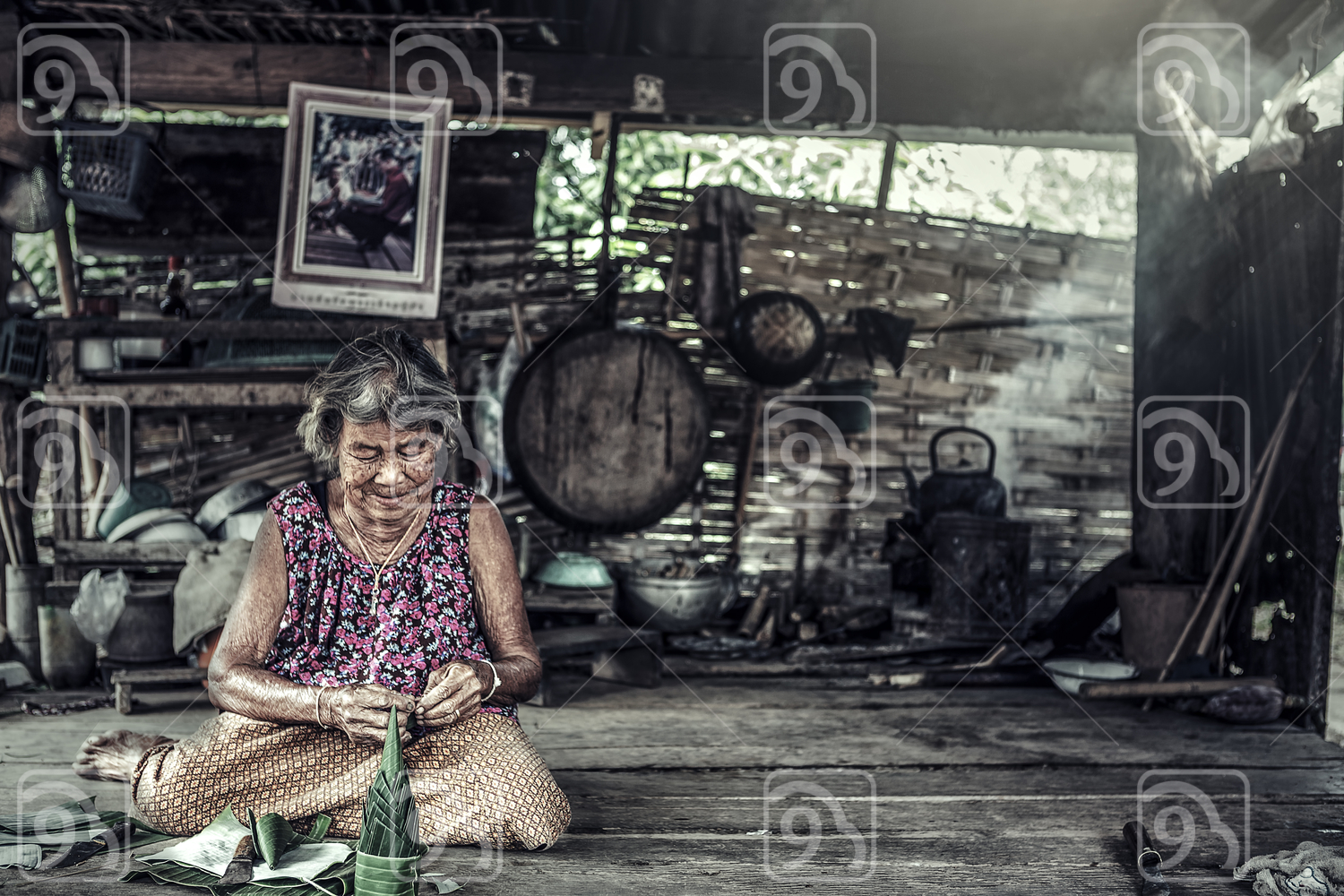 Old Asian woman with wrinkles elderly senior