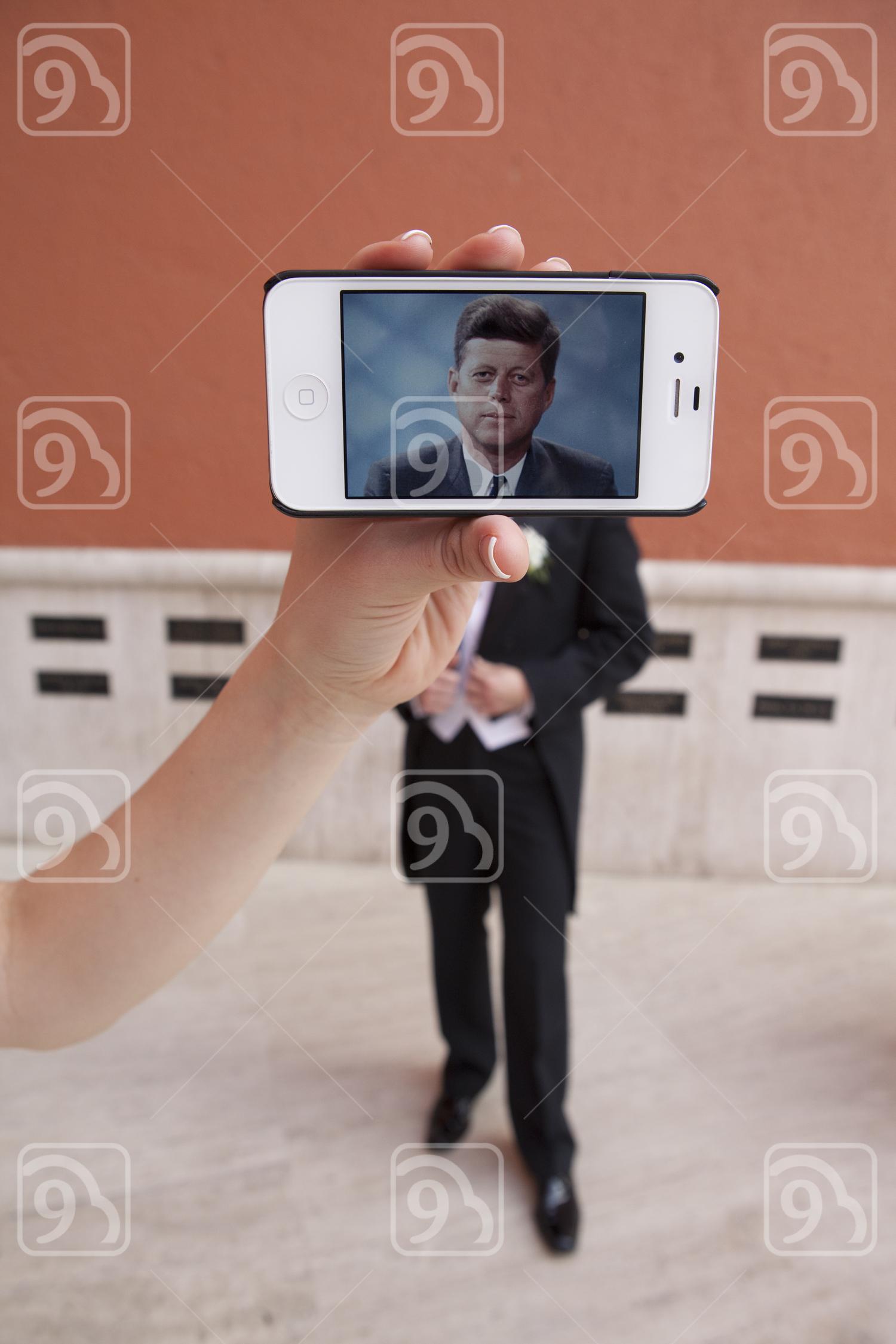 Creative smartphone playful selfie