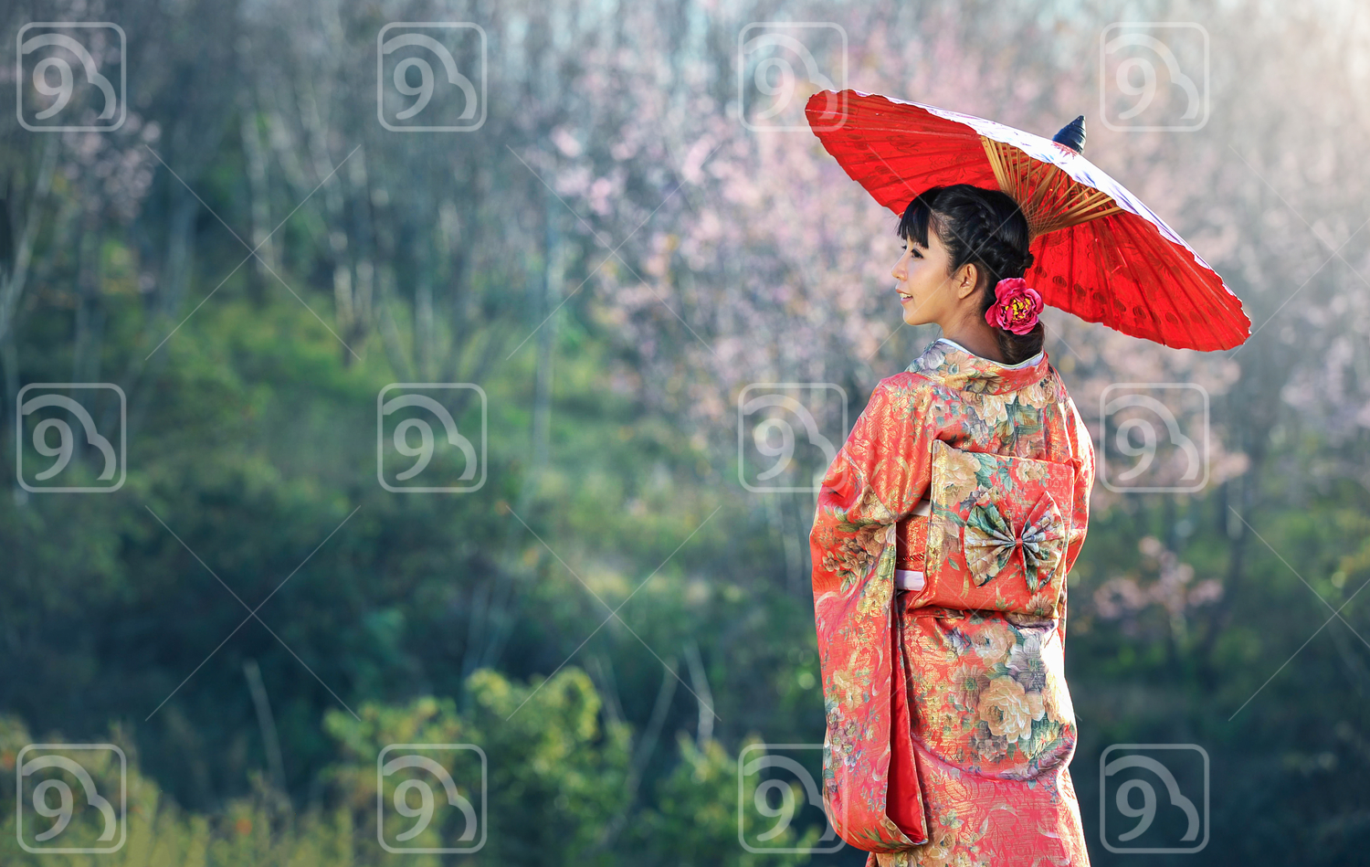 Asian woman wearing traditional Japanese kimono