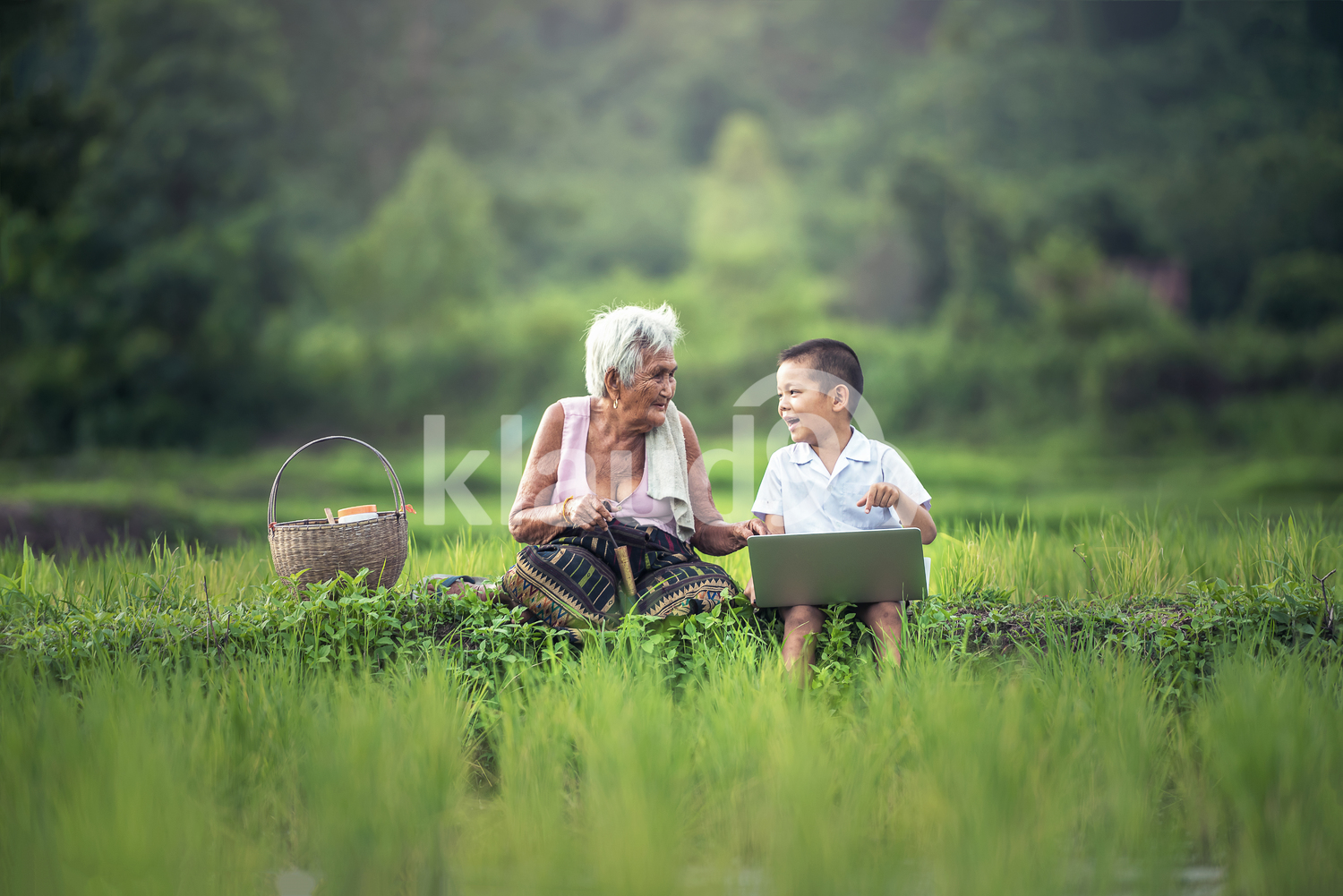 Happy boy and grandmother