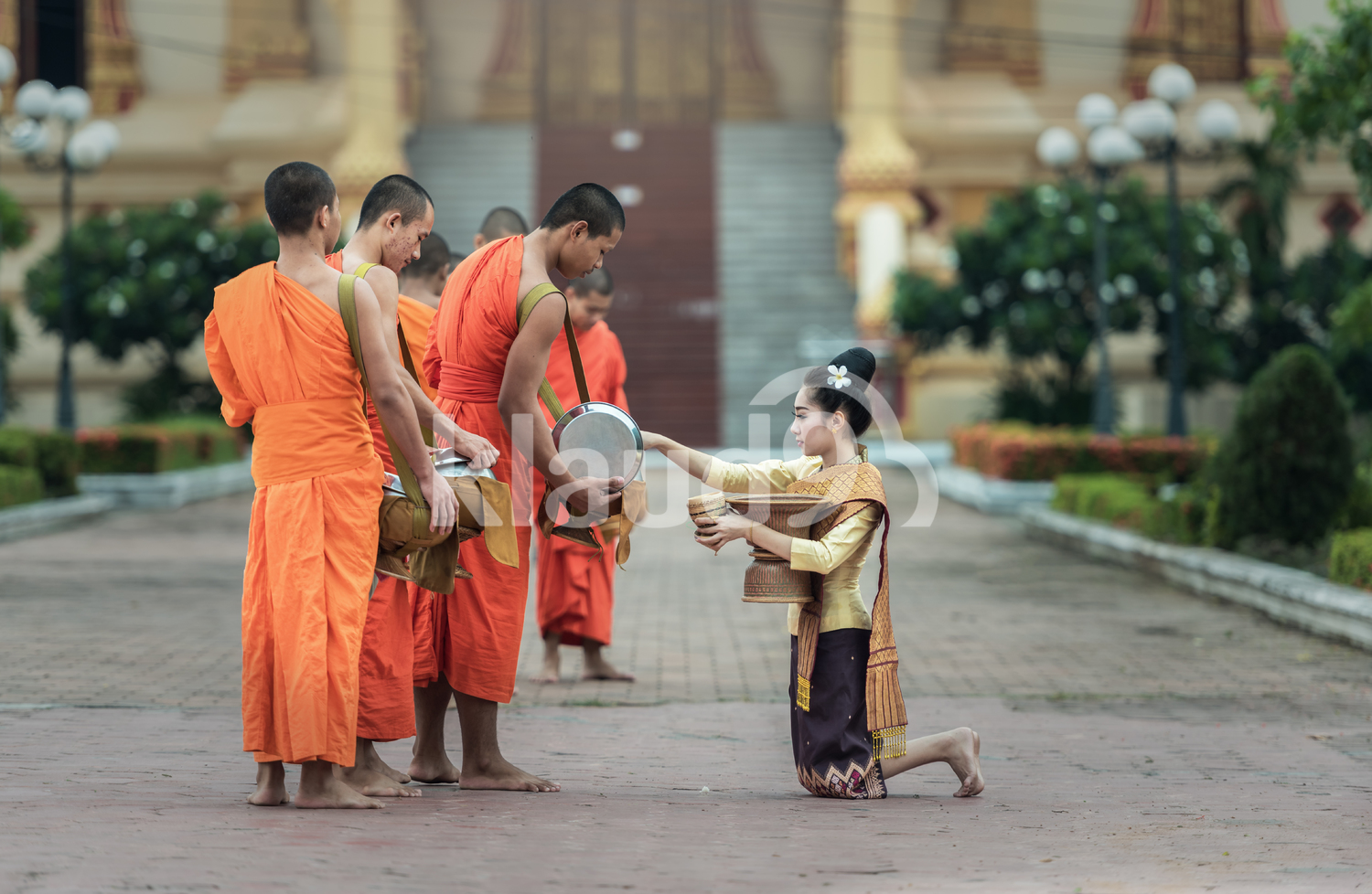 People give food offerings to Buddhist monks