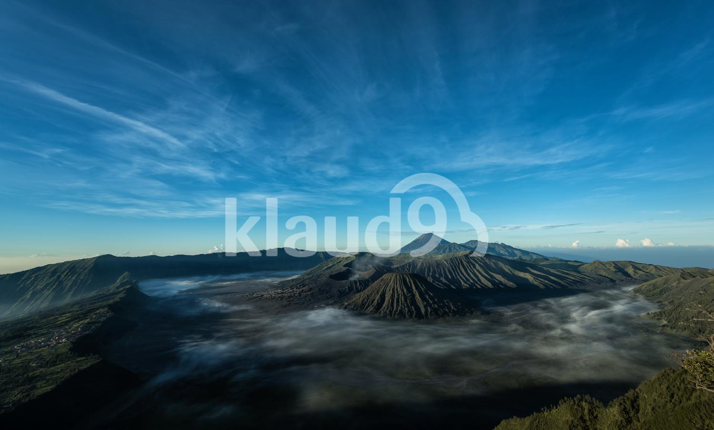 Mount Bromo volcano during sunrise
