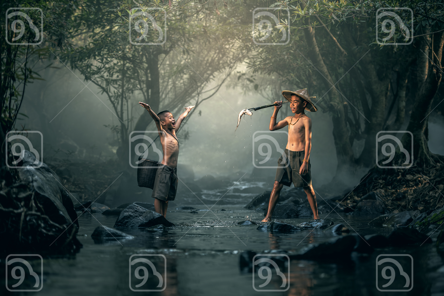 Two boy fishing in creeks