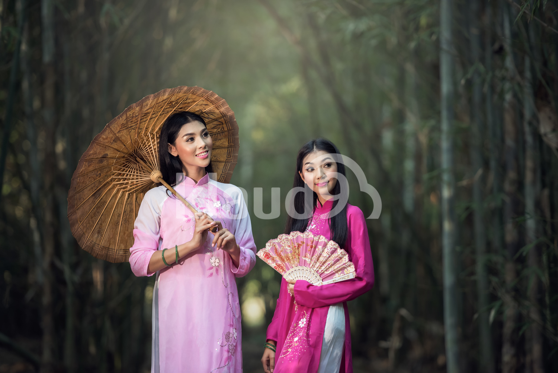 Portrait of Vietnamese girl traditional dress