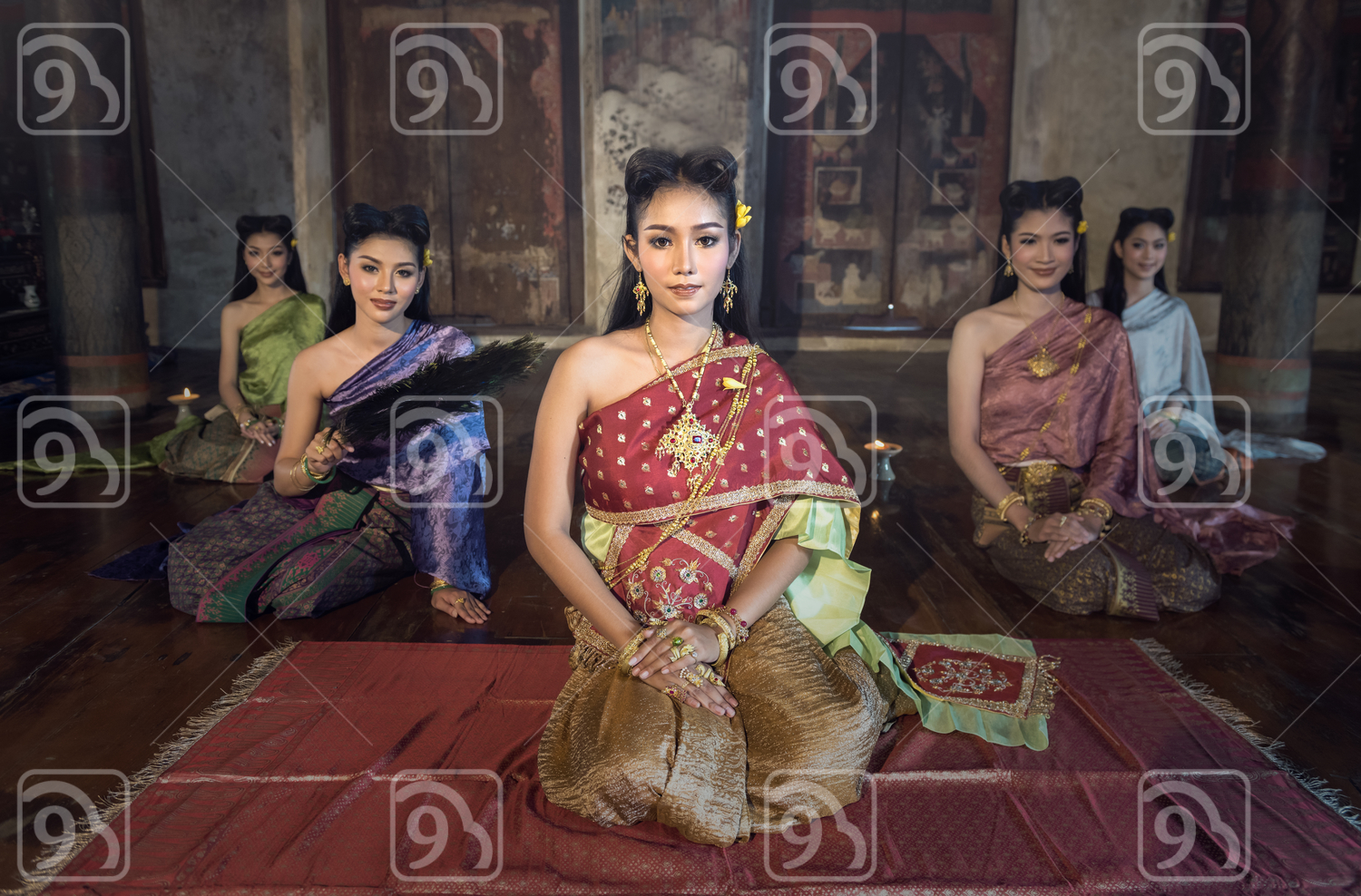 Beautiful Thai women in traditional costume