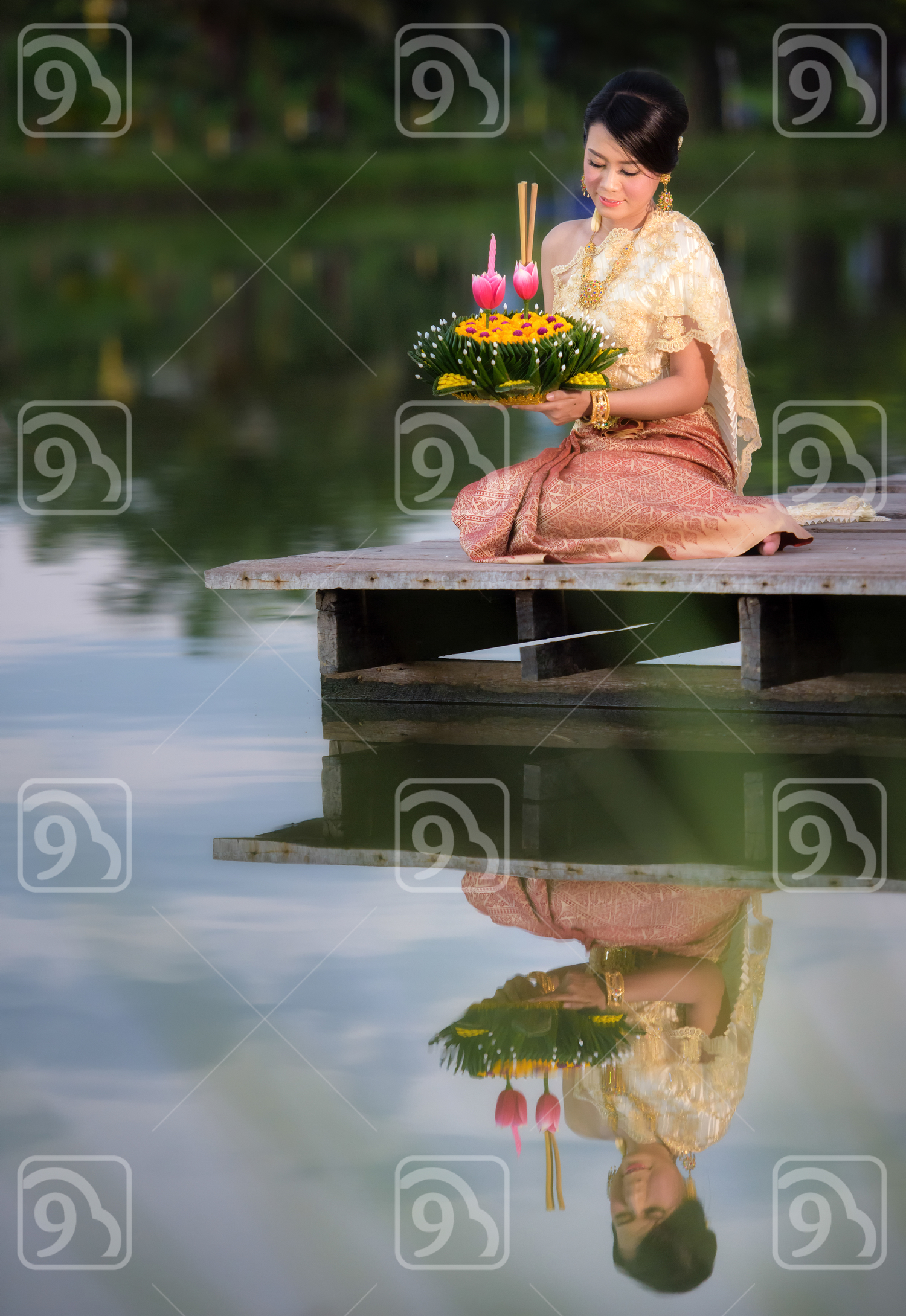 Thai woman at Loy Krathong Traditional Festival