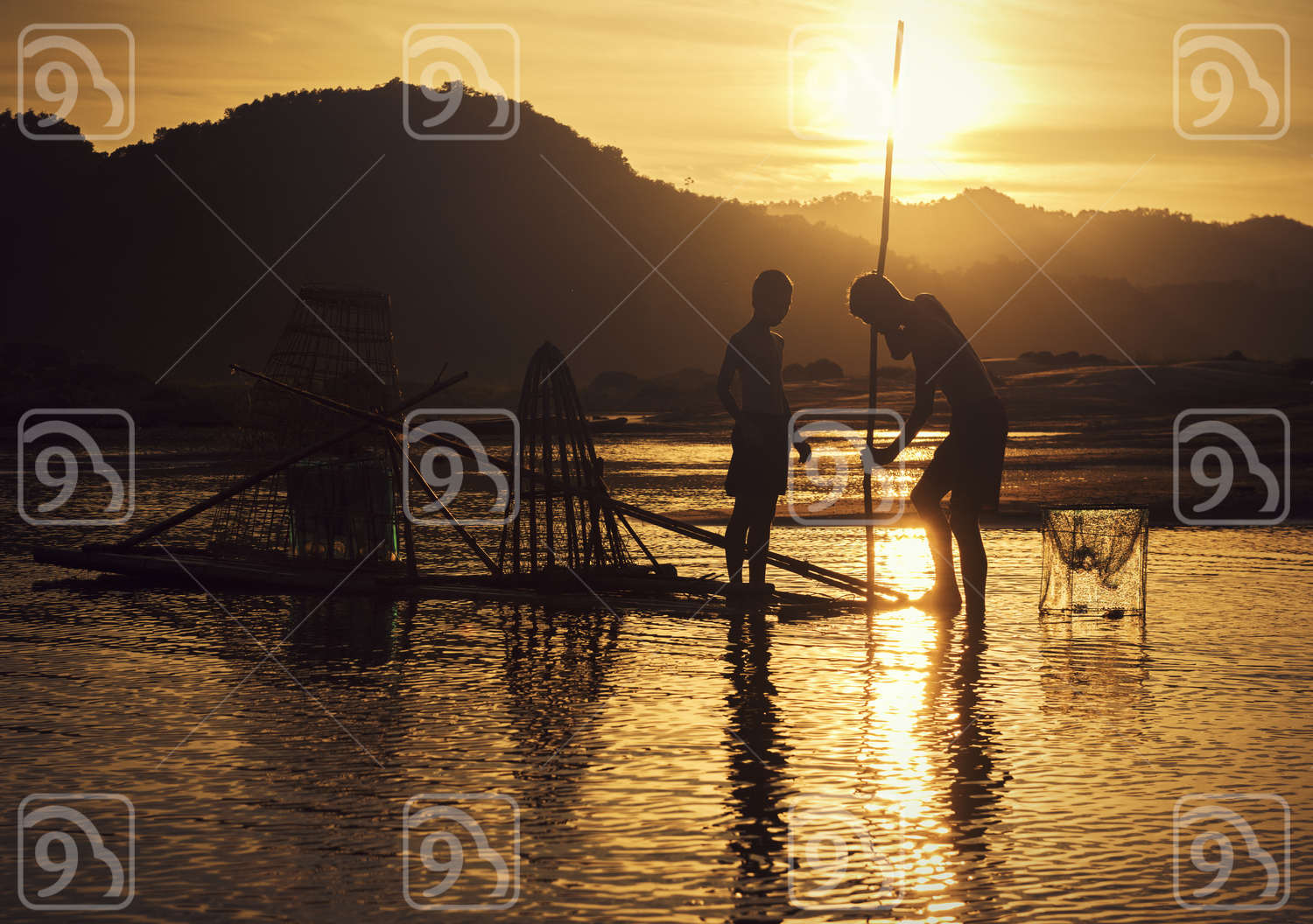 Young Fisherman in action when fishing in the lake