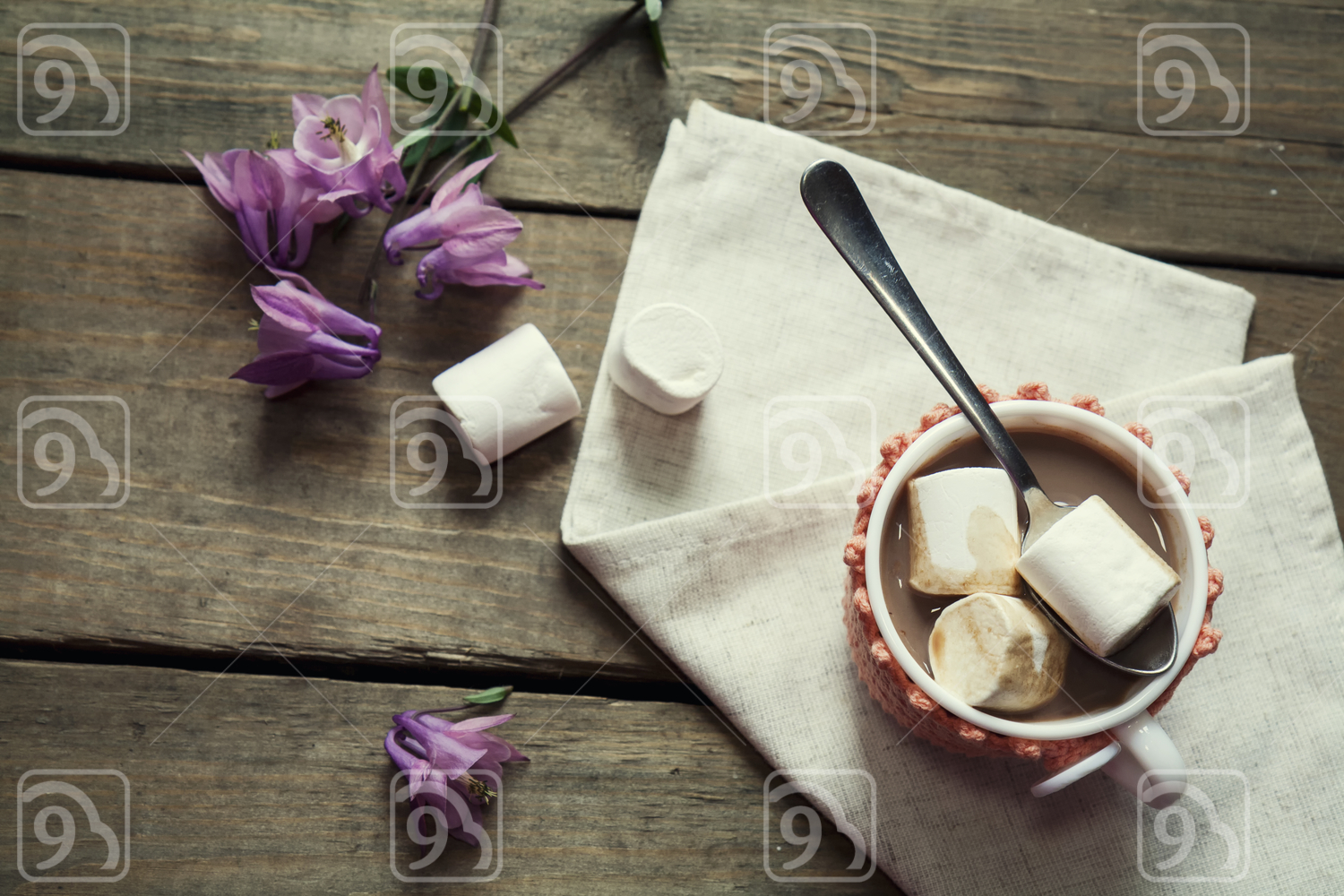 Hot cocoa with marshmallows in cup