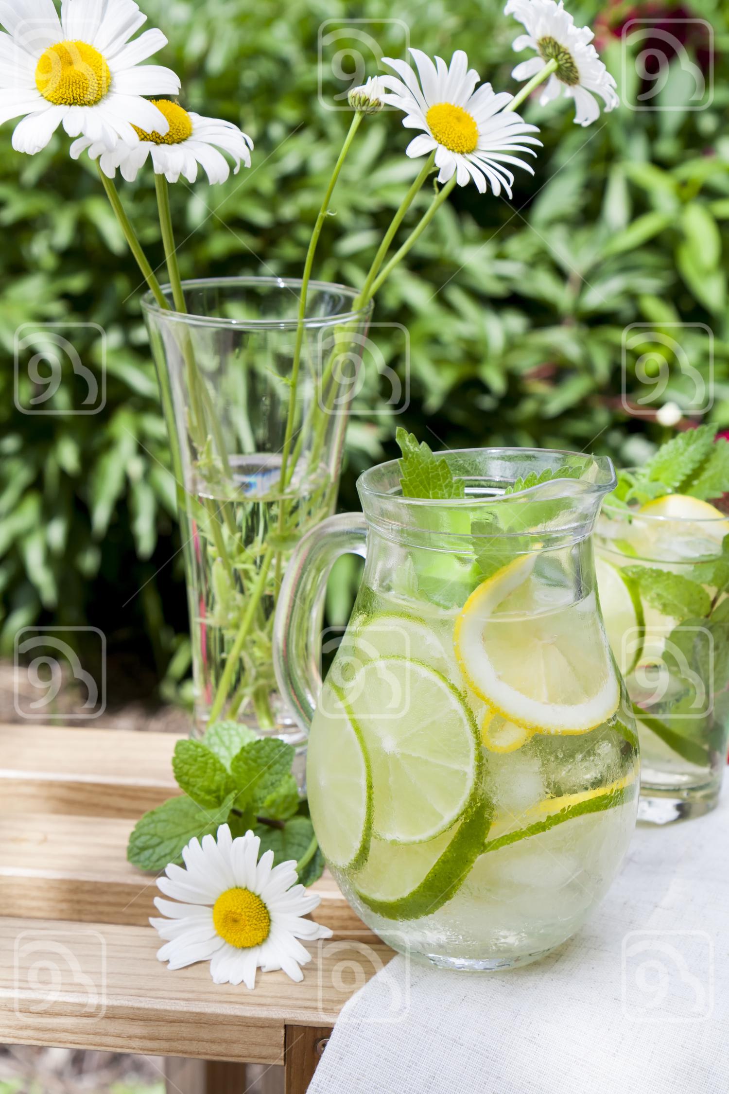 Cold fresh lemonade with lemon, lime and mint