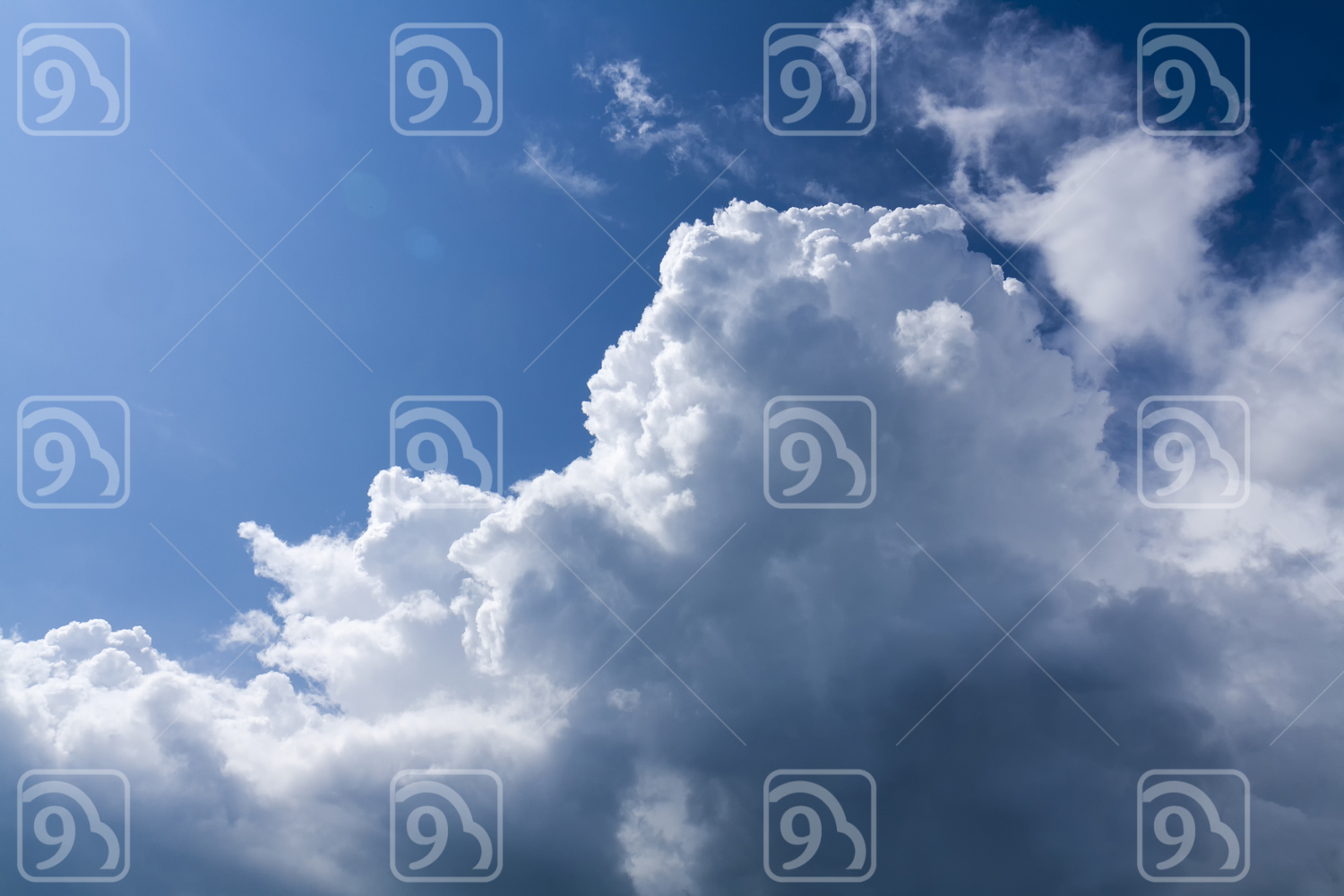 Blue sky with storm clouds