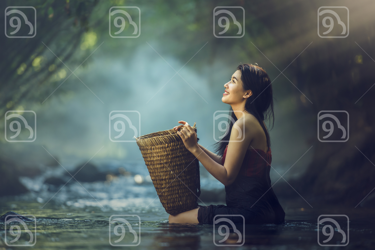 Asian woman in river
