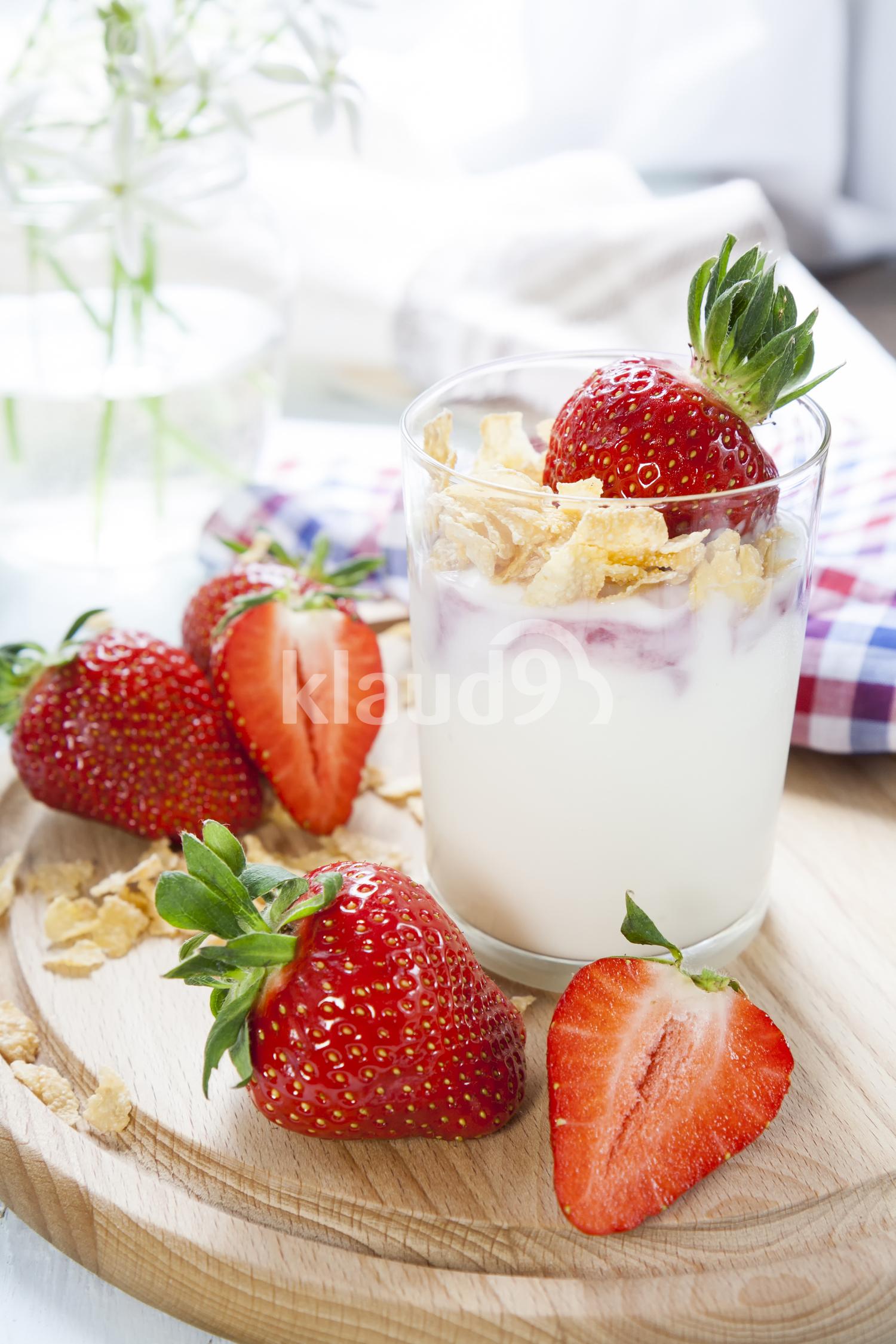 Yogurt with fresh fruits and milk