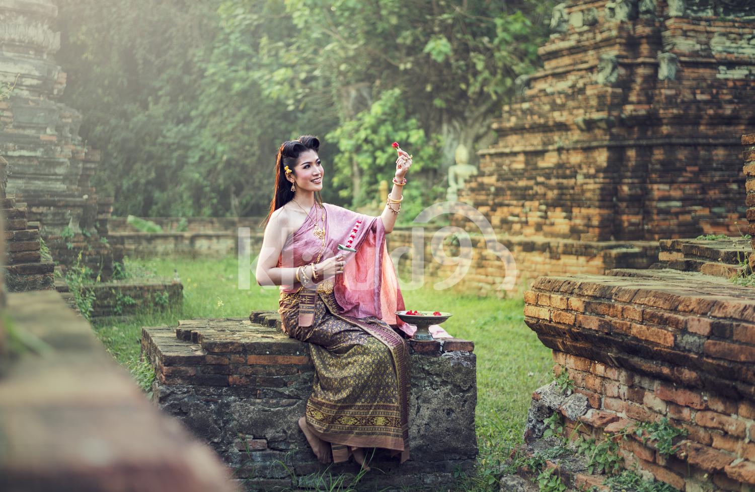 Beautiful Thai Girl in Traditional Dress
