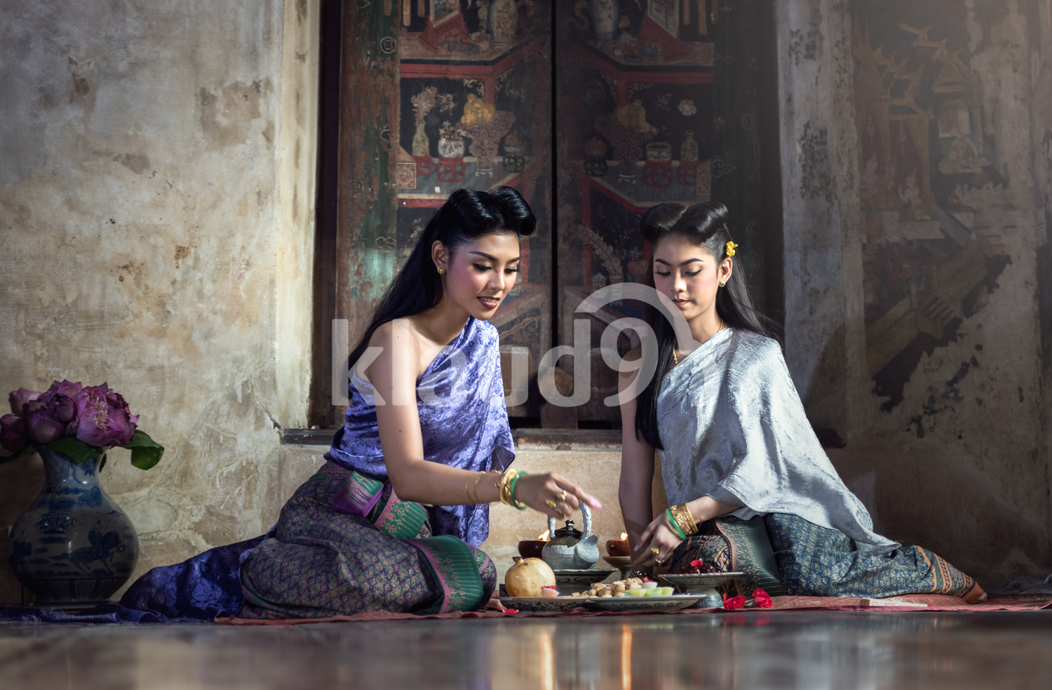 Beautiful Thai girls in traditional costume