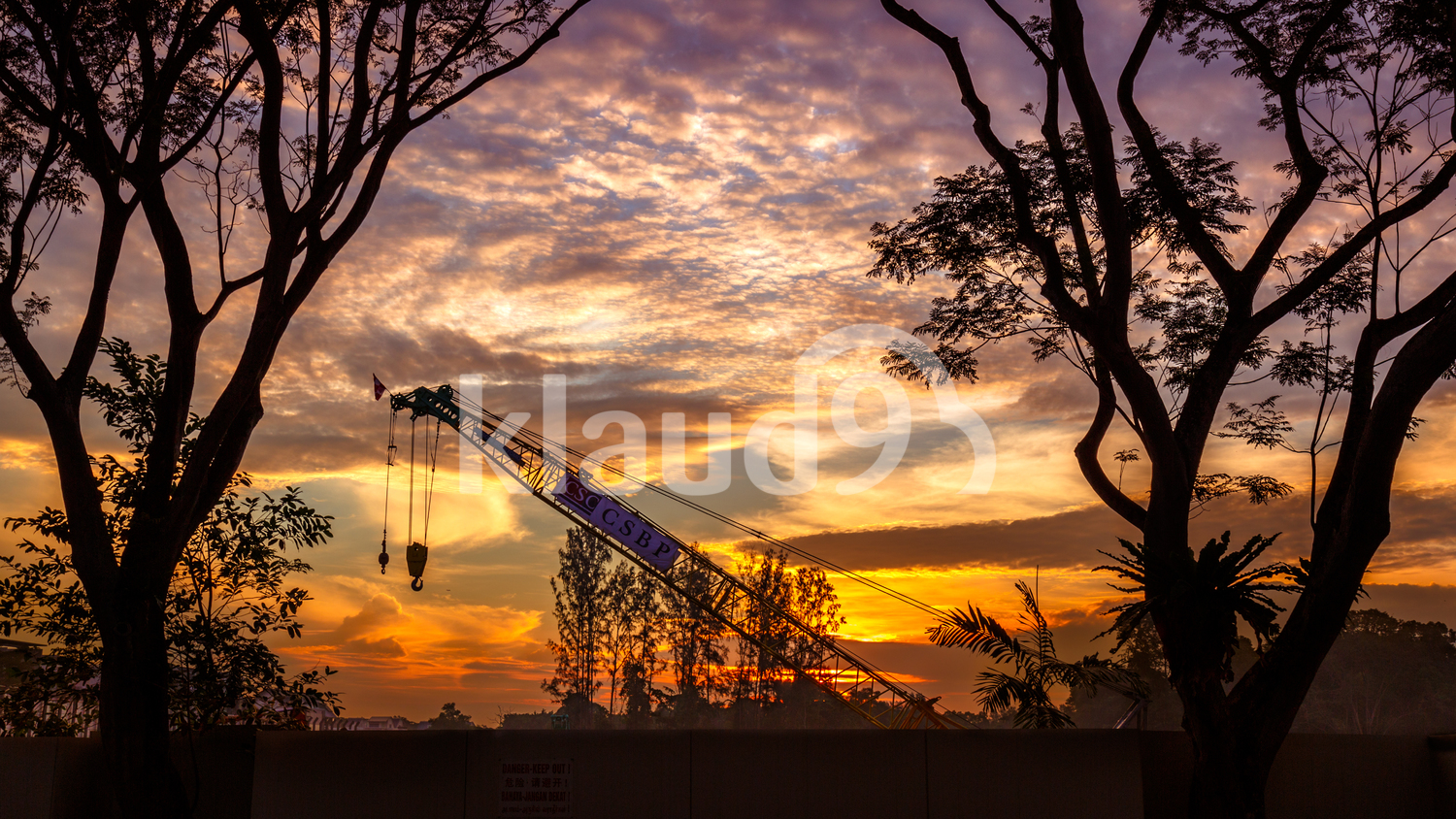 Sunrise over a construction site