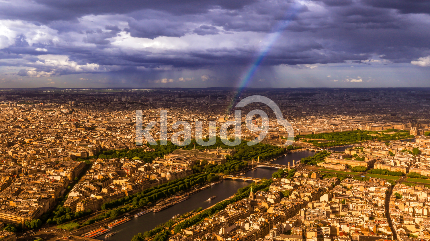 Rainbow in Paris from the Eiffel Tower