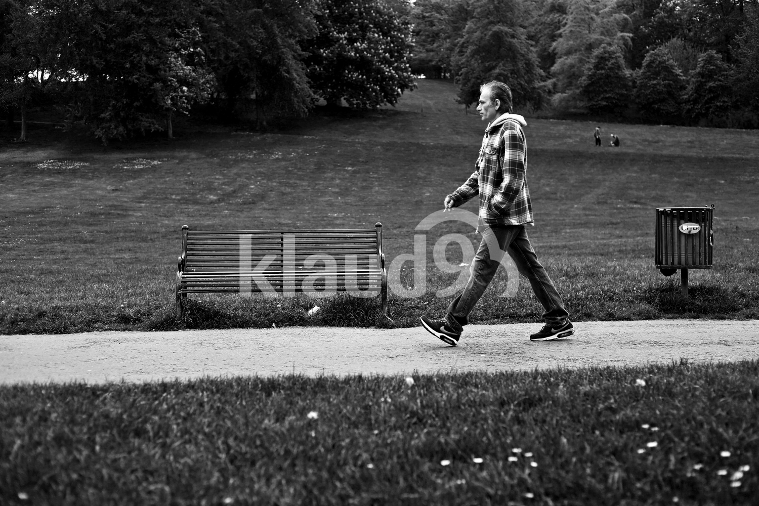 Man walking in a park in Glasgow
